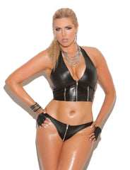Plus Size Zip Up Leather Thong - just damn sexy  - 1