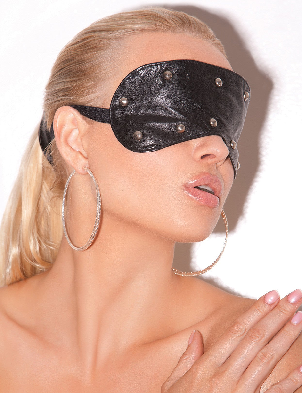 Studded Leather Blindfold - just damn sexy