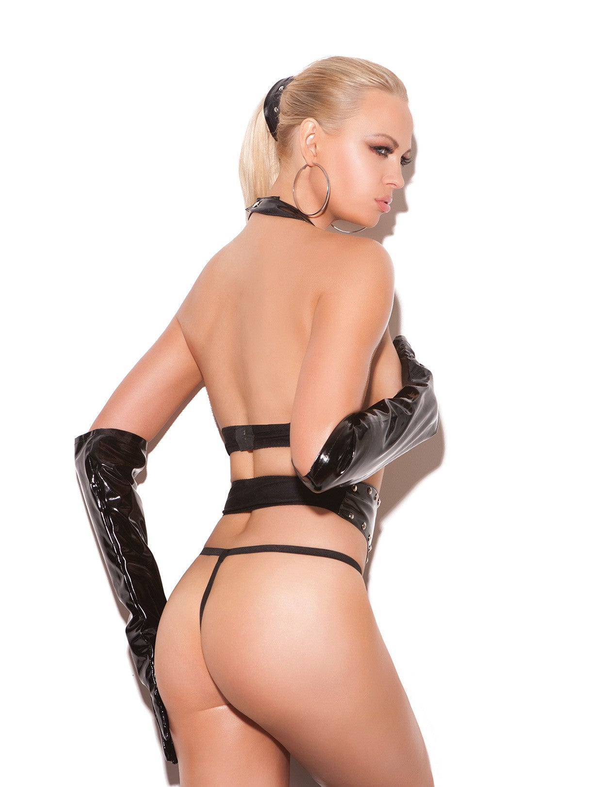 Vinyl Studded Top, Waist Cincher and G-String
