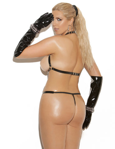 Plus Size Vinyl Thong Backstrap Teddy
