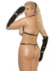 Plus Size Vinyl Thong Backstrap Teddy - just damn sexy  - 2
