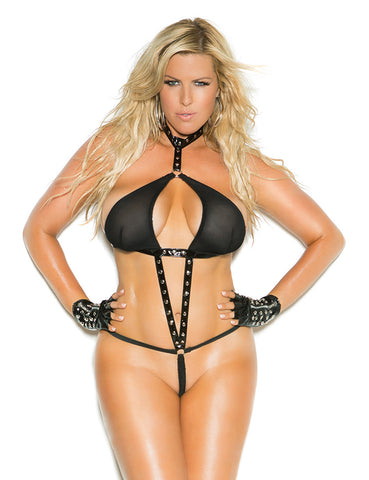 Plus Size Vinyl and Fishnet Halter String Teddy