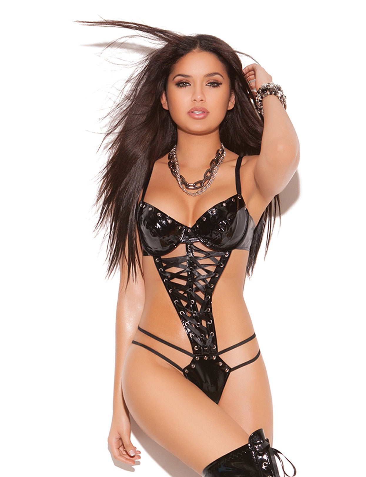 Vinyl Nail Head Lace Up Front Teddy - just damn sexy  - 1
