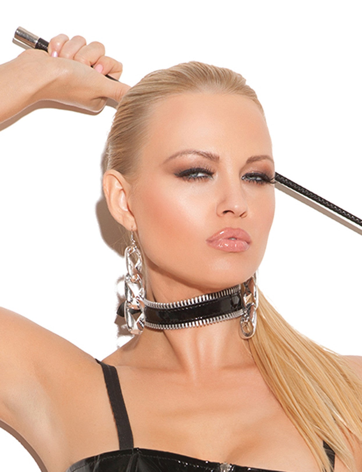 Vinyl Choker with Zipper Trim