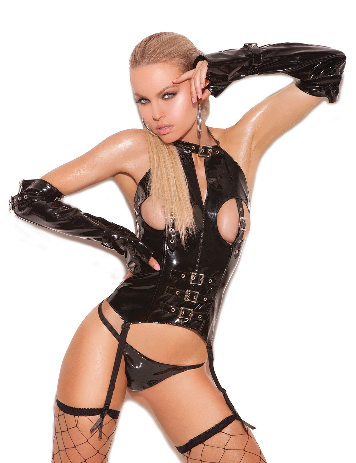 Vinyl Cupless Bustier with Buckles - just damn sexy  - 1