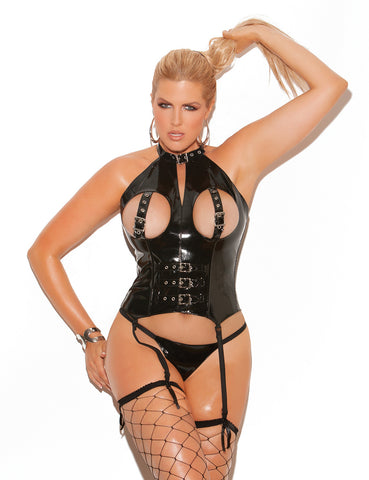 Plus Size Vinyl Cupless Bustier with Buckles