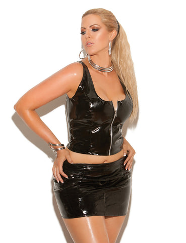 Plus Size Front Zip Vinyl Top - just damn sexy  - 1