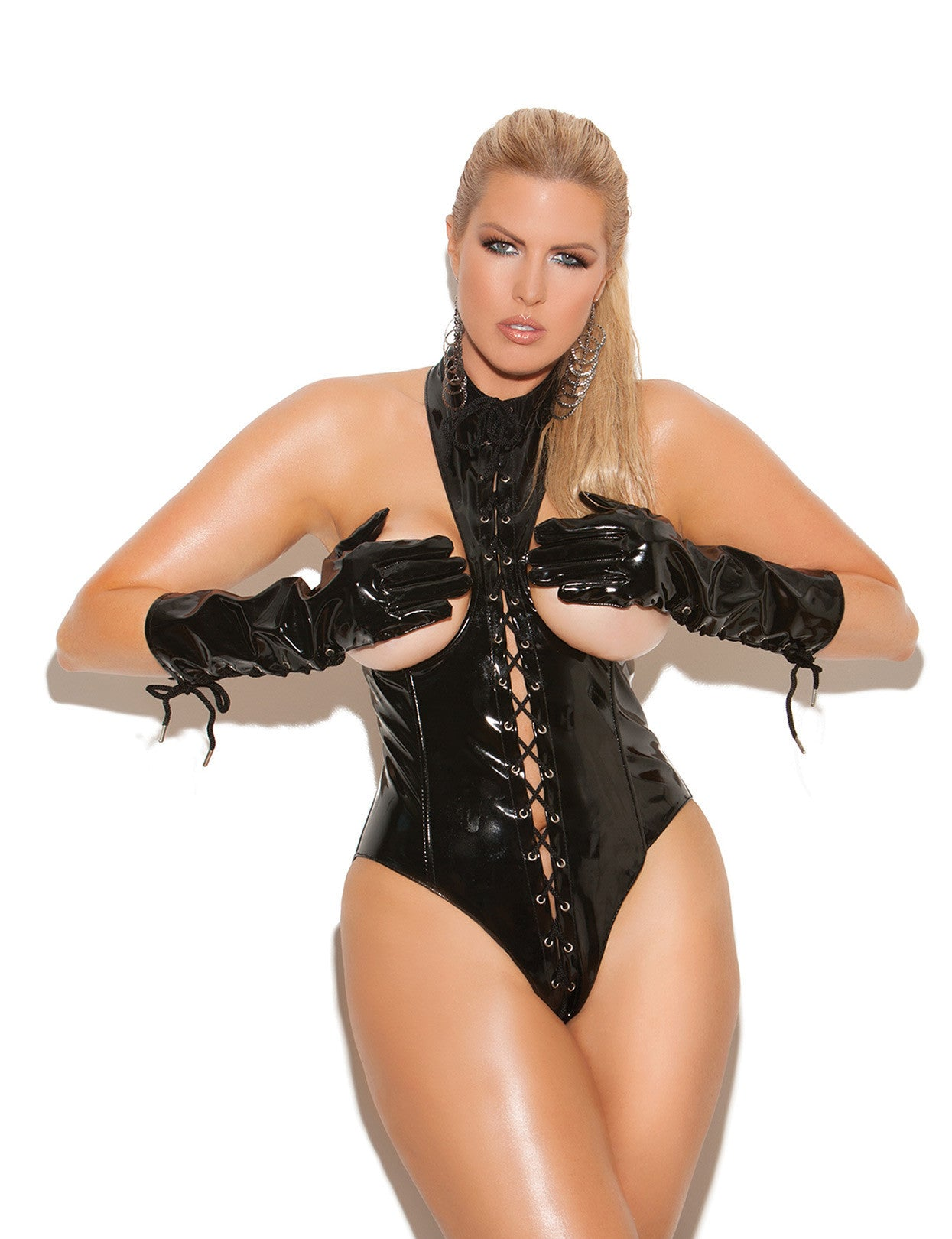 Plus Size Lace Up Cupless Vinyl Teddy - just damn sexy  - 1