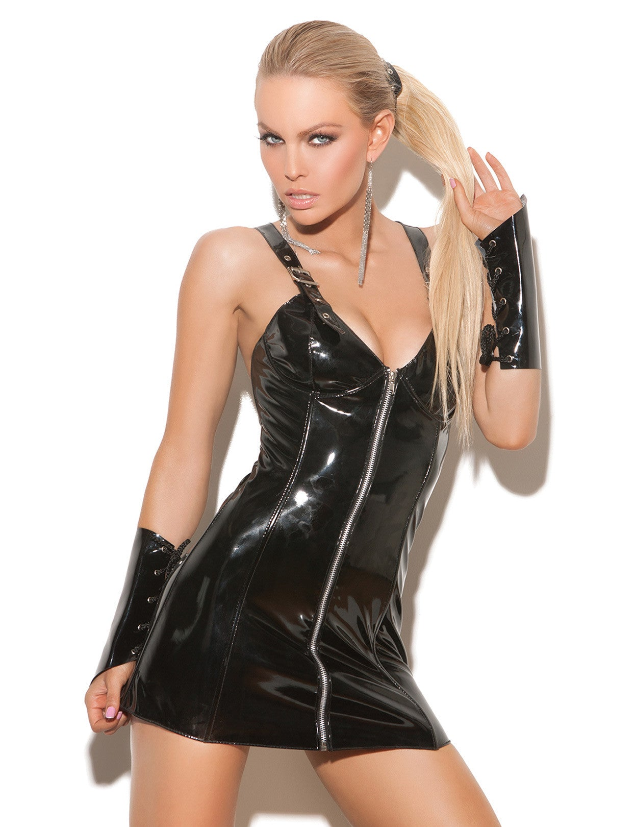 Front Zip Vinyl Mini Dress - just damn sexy  - 1