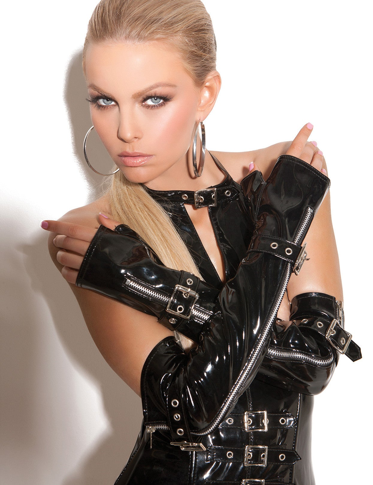 Zip and Buckle Fingerless Gloves - just damn sexy