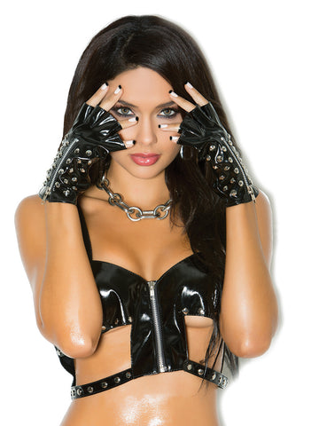 Stud and Zipper Vinyl Gloves - just damn sexy