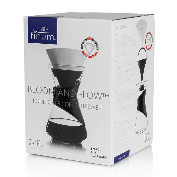BLOOM AND FLOW™ pour-over coffee brewer (black collar) 1