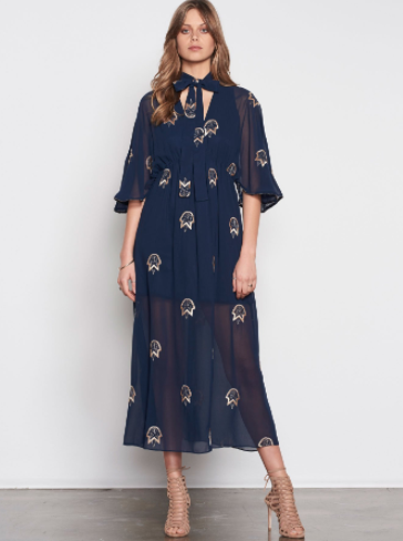 HOW LONG EMBROIDERED MIDI DRESS