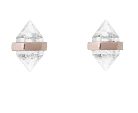 BEAMING CRYSTAL STUDS - CLEAR QUARTZ