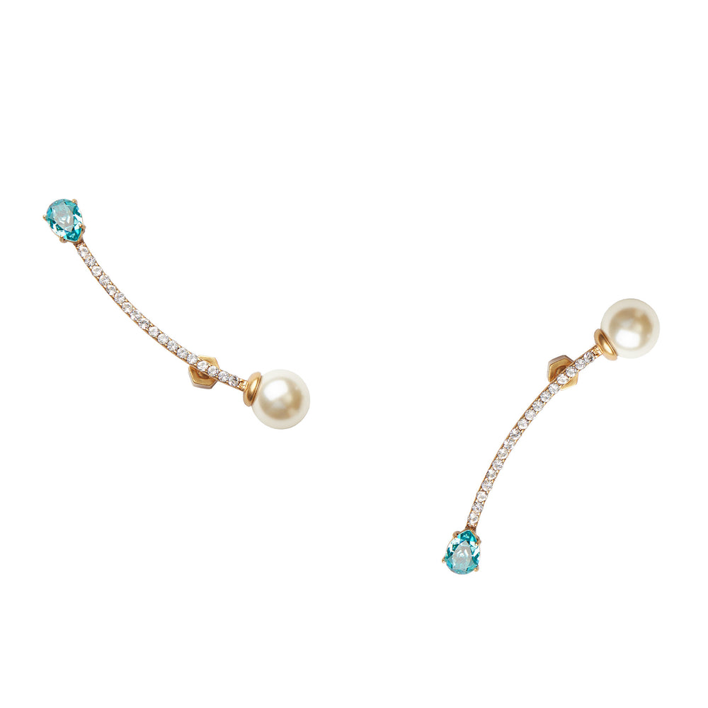 Bias Pearl Silver Curved Earrings