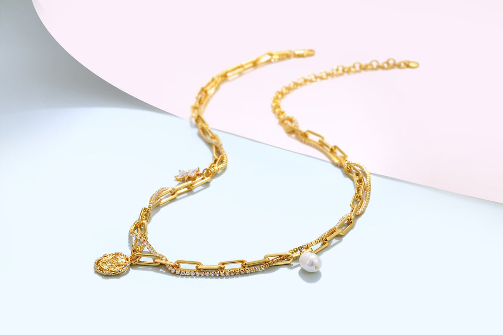 Starlight Gold Necklace with Pearl and Coin