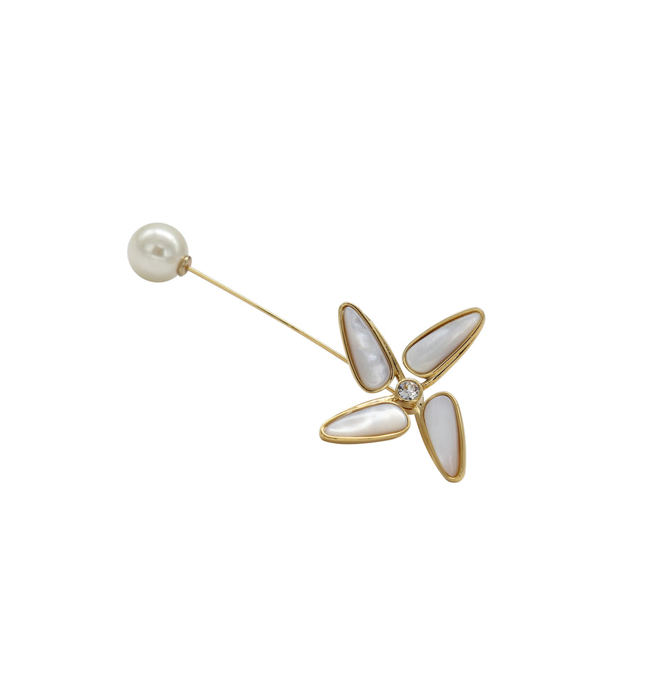 Windmill White Natural Fritillary Brooch with Swarovski Pearl