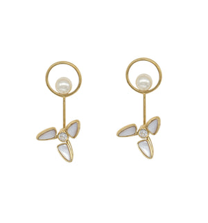 Windmill Rotatable White Natural Fritillary Earrings