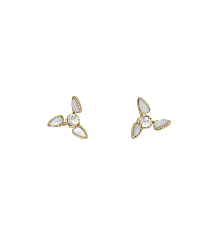 Windmill White Natural Fritillary Studs Earrings