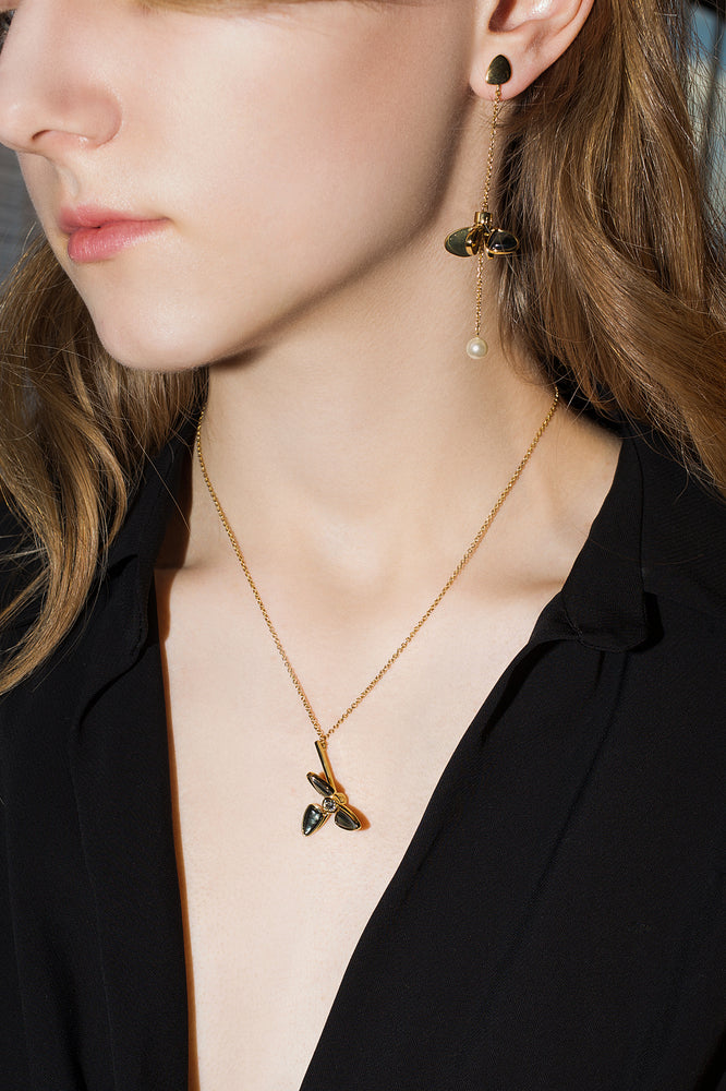 Windmill Black Fritillary Pendant Necklace