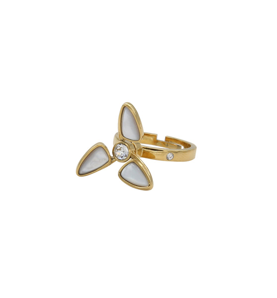 O.Yang Windmill Rotatable Natural Fritillary Gold Ring