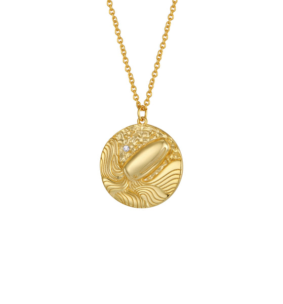 O.Yang Zodiac Double Sided Coin Pendant Gold and Crystal Necklace