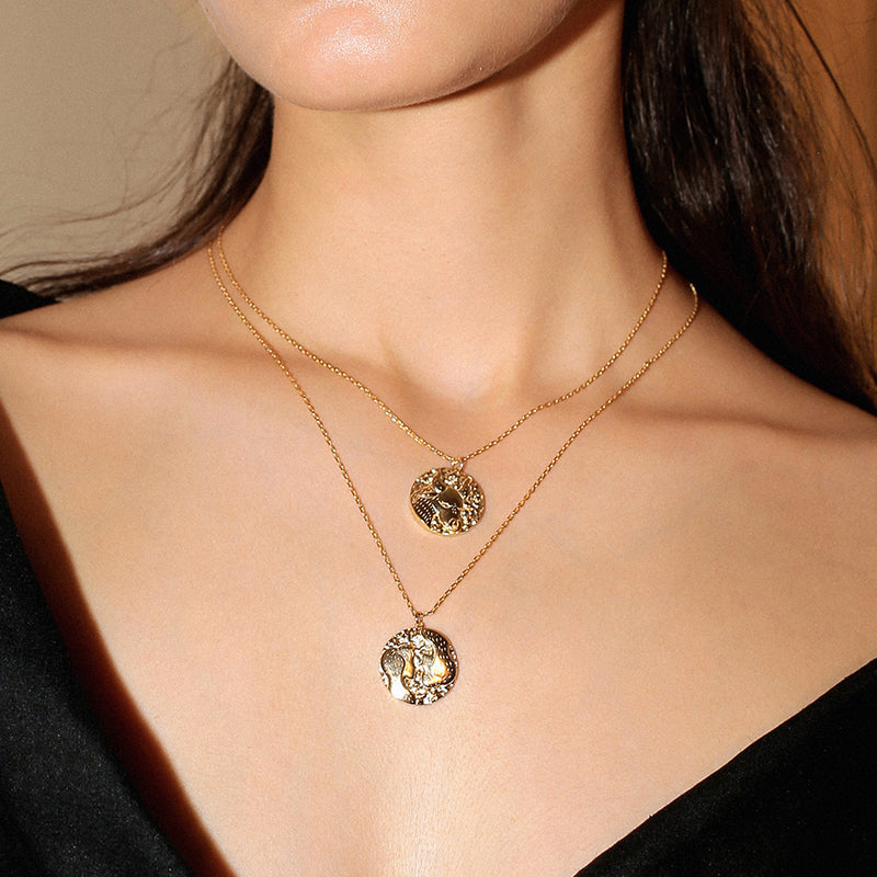 Leo Zodiac Double Sided Coin Pendant Gold and Crystal Necklace