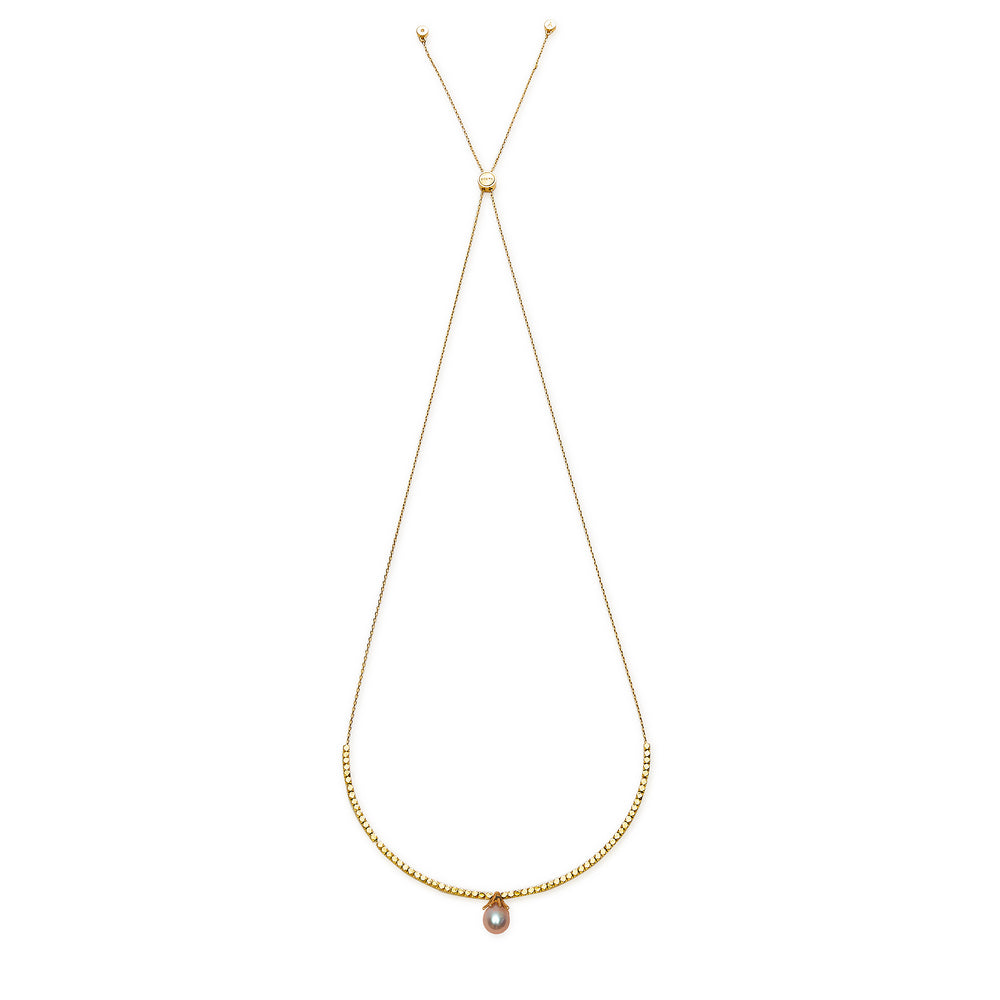 DROP Gold Necklace With Purple Pearl