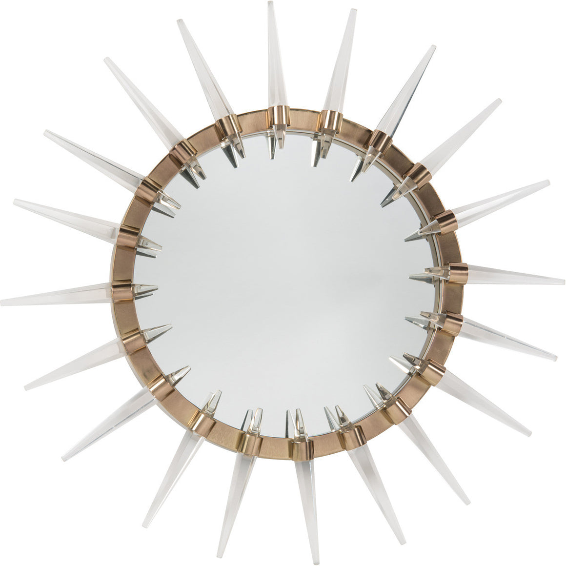 Round Mirror In Brass Frame With Acrylic Spikes