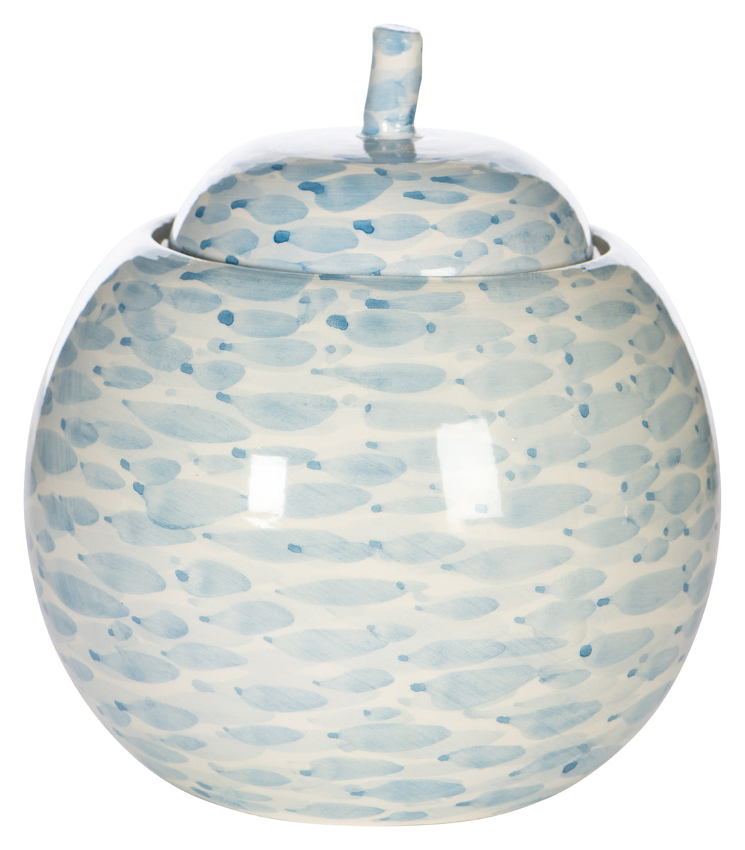 Large Blue And White Round Jar