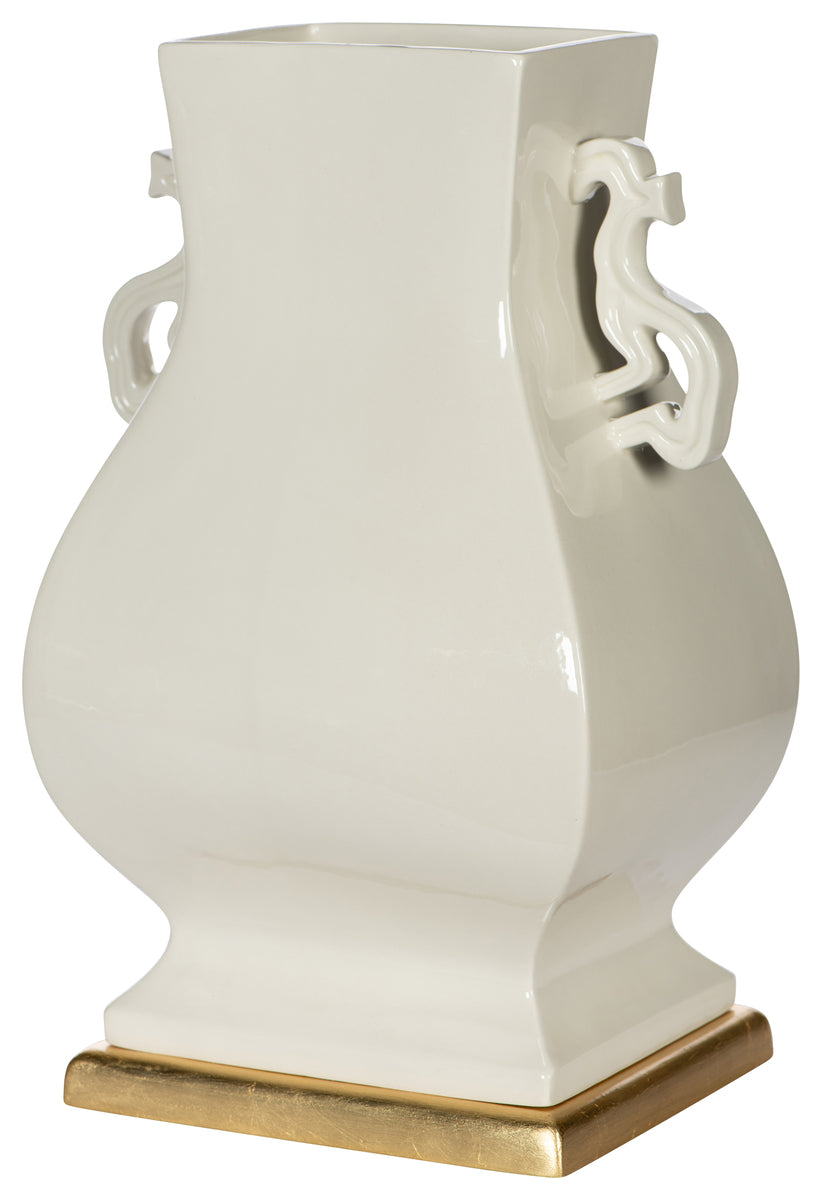 White Dragon Handled Vase