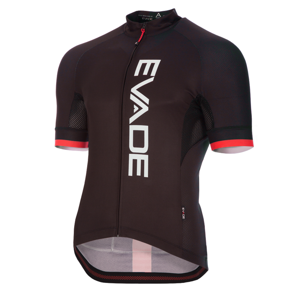 Evade Sport Road Cycling Elite Short Sleeve Jersey - Black / Red