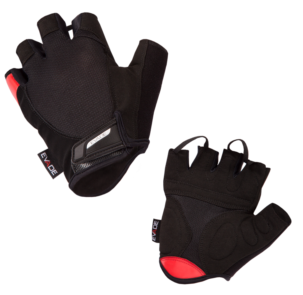 Evade Sport Road Cycling Gel-Lite Short Fingered Gloves - Black