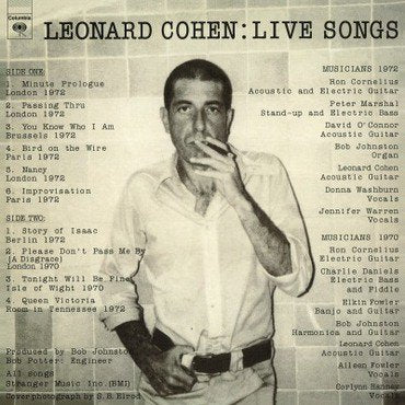 Leonard Cohen 'Live Songs' LP
