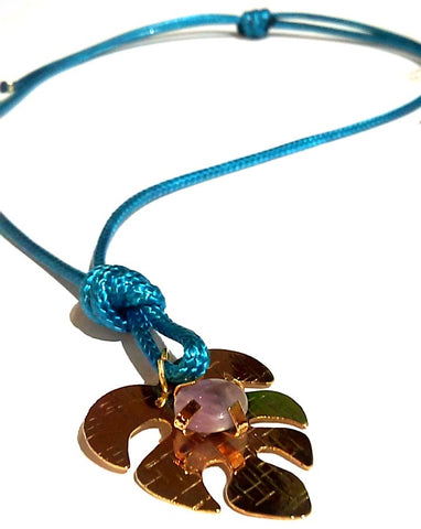 Fatevel Turquoise Necklace with Leaf Pendant