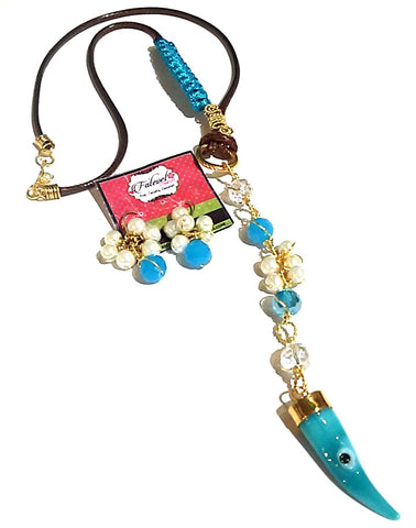 Fatevel Brown Cord Blue & Pearl Necklace Set with Pendant