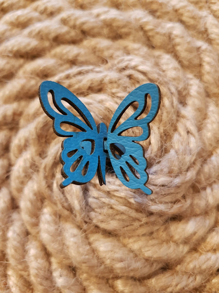 Nella Monroy Faux Leather Laser Cut Blue Butterfly Ring