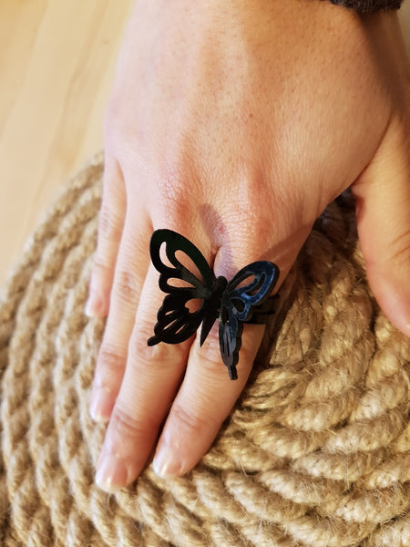 Nella Monroy Faux Leather Laser Cut Black Butterfly Ring
