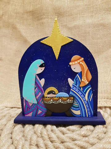 Mary C. Artesanías One Piece Teal Nativity Set
