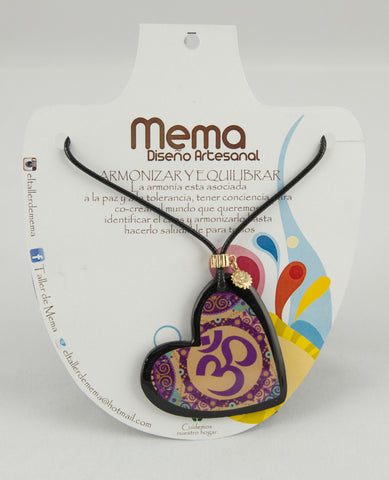 Mema Purple Mandala Heart Pendant Necklace - Harmonise and Balance