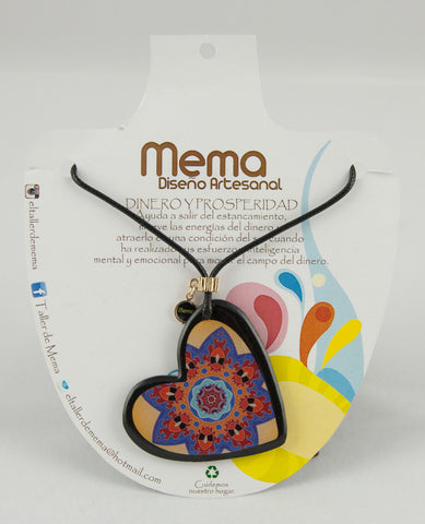 Mema Flower Mandala Heart Pendant Necklace - Money and Prosperity
