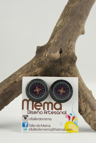 Mema Black Mandala Round Earrings