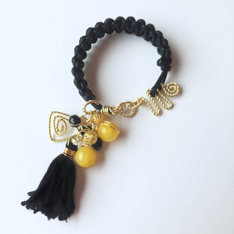 Fatevel Black Macramé Cord Bracelet with Black Tassel