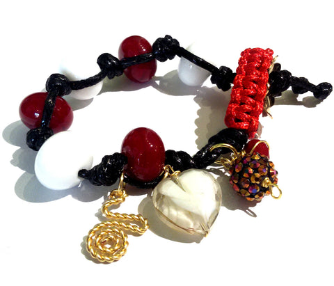 Fatevel Black Cord Multicharm Red White Bracelet
