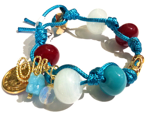Fatevel Blue Cord Gold Clasp White Red Bead Bracelet