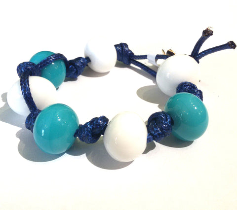 Fatevel Blue Cord Aqua White Gold Flower Bracelet