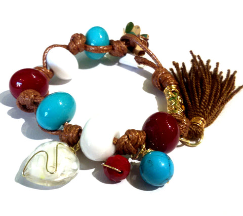 Fatevel Brown Cord Blue White Red Beads Heart Pendant Brown Tassle Bracelet