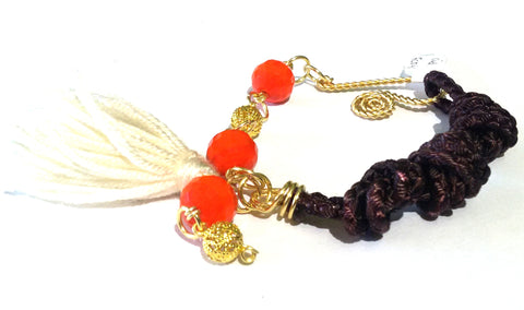Fatevel Brown Cord Gold Orange Beads Beige Tassle Bracelet