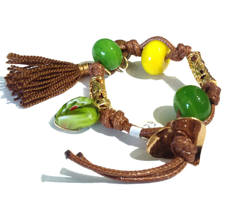 Fatevel Brown Cord Green Yellow  Heart Charm Brown Tassle Bracelet