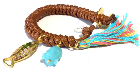 Fatevel Brown Macramé Cord Multicharm Multicolor Tassle Bracelet